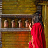 Spinning the prayer wheels, Nepal