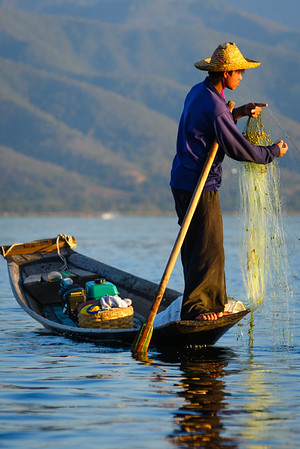 Burmese fisherman, Inle Lake, Myanmar