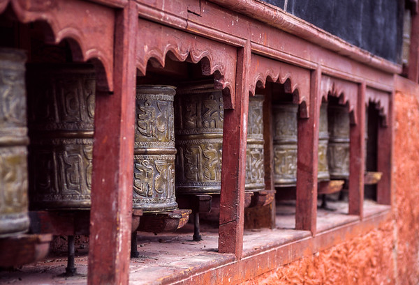Buddhist prayer wheels, Ladakh, India