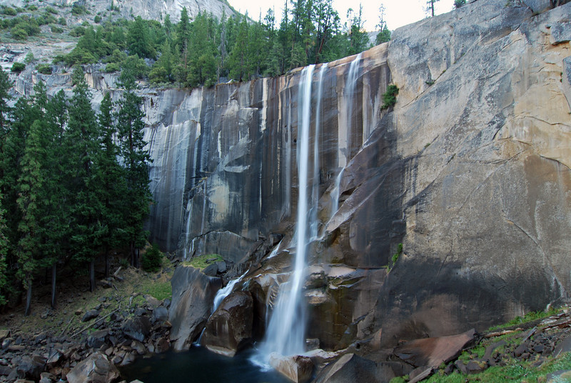 A waterfall at the beginning of the Half Dome hike in Yosemite.