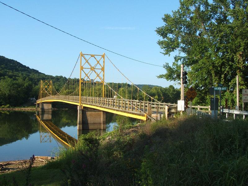 "Couldn't resist getting a shot of ""The Golden Gate Bridge"" of Arkansas. It's a one-lane bridge!"