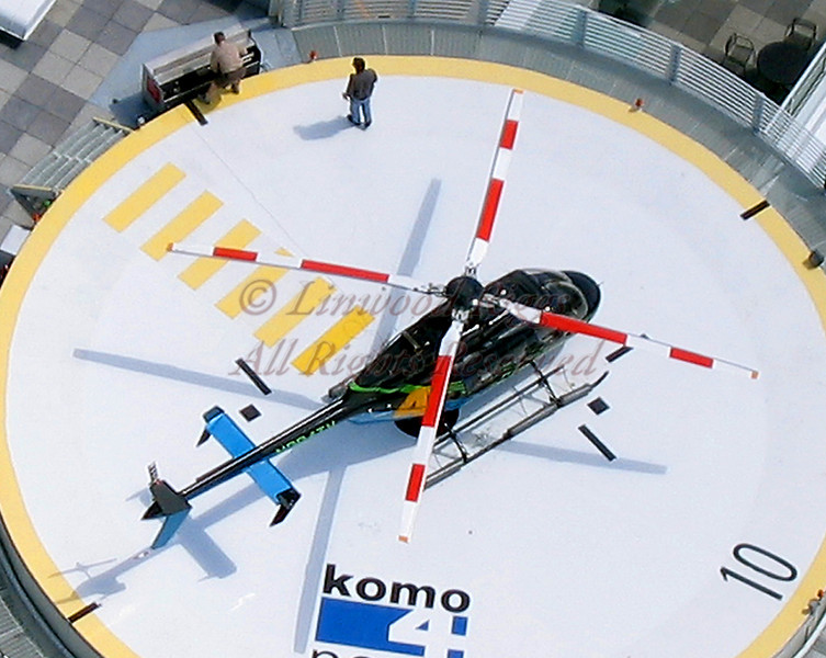 KOMO's news helicopter as seen from the Space Needle in Seattle (2004 photo).