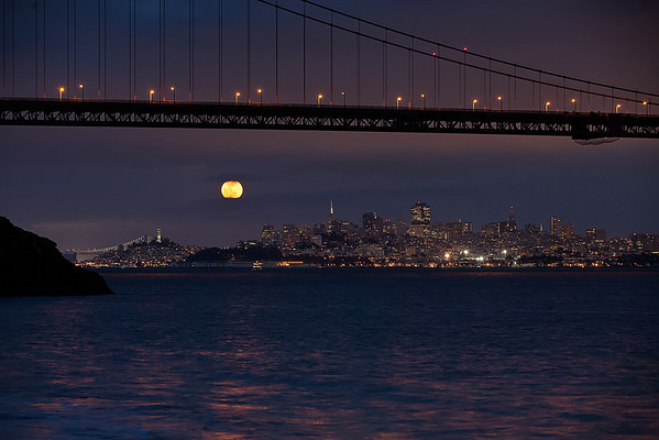 "Yellow ""pink"" Moon over SF"