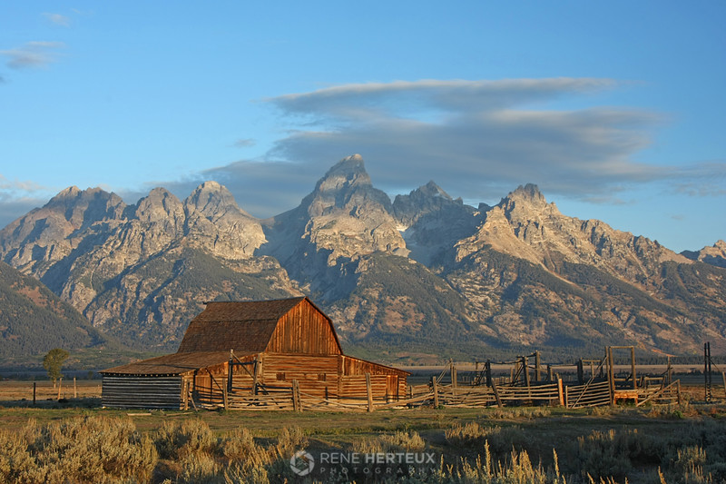 Mormon row barn at sunrise