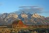Mormon row barn at sunrise