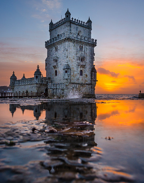 Beautiful Lisbon Tower Sunset  Reflection Photography By Messagez.com