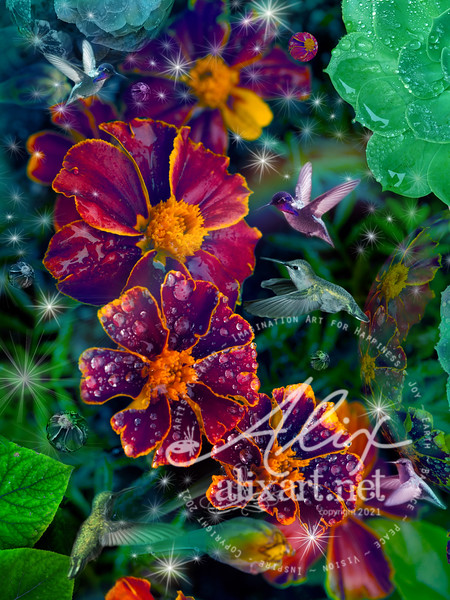 Flower Dew Drop Hummingbirds VARIATION:fairymagic