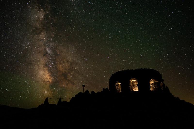 Dee Wright Observatory at night, McKenzie Pass, Oregon