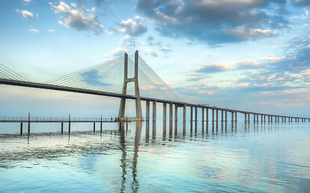 Fishing Under The Bridge in Lisbon Portugal