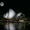 The Sydney Opera House with full moon, Australia
