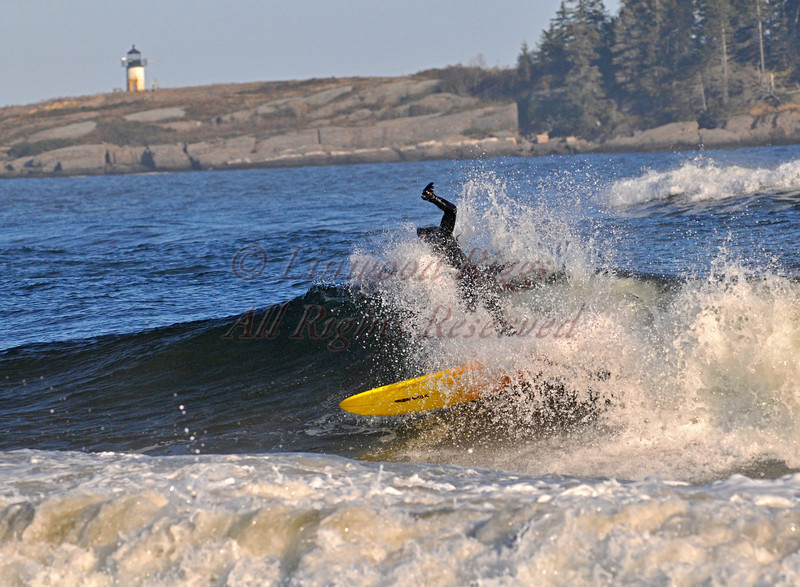 Surfing at Popham Beach, Maine