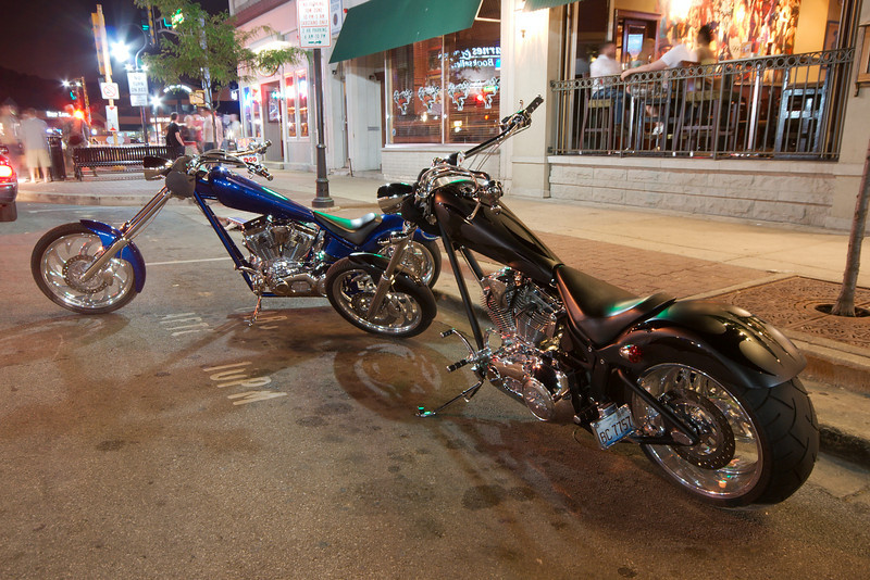 Custom choppers at Features Bar in Naperville.