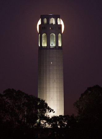 Coit tower wasn't quite big enough to hide the moon, but almost...