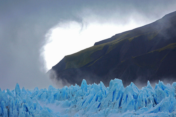 Curl of the cloud near blue ice of Hubbard Glacier in Alaska, 0078