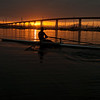 Man Rowing at Sunrise in  San Diego Bay