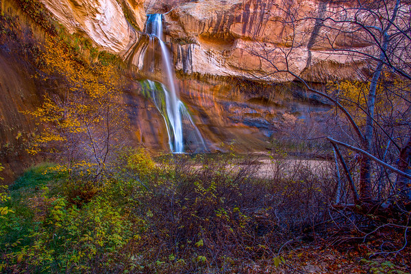 Lower Calf Creek Falls with autumn leaves, Escalante / Grand Staircase National Monument, Garfield County, Utah (2)