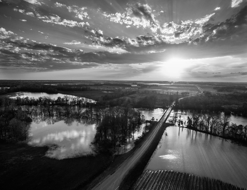Sunset on a flooded Sunflower River (BW)