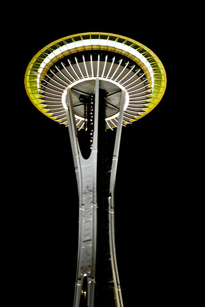 Space Needle from the base at night