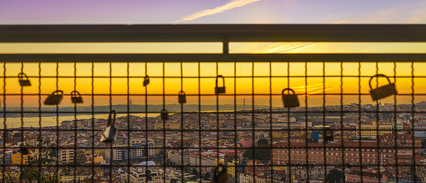 Locked in Lisbon Viewpoint at Sunset Photography By Messagez com