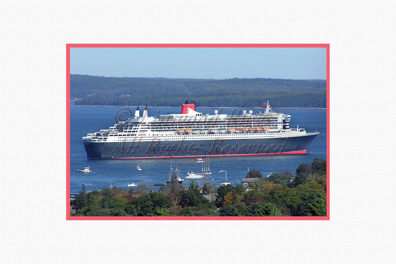 Queen Mary 2's first visit to Bar Harbor - September, 2004