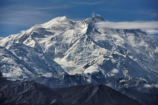 The Muldrow Glacier on the north face of Mount Denali, aka McKinley, Alaska -- 21,000 feet, and a perfectly clear day!  The route is seldom climbed as one of the biggest elevation gains on the planet!<br /> #0461