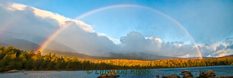 Rainbow over Sandy Stream Pond, Baxter State Park, Maine.