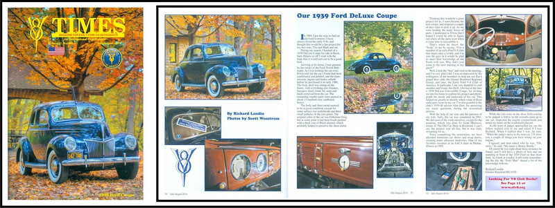 A magazine celebrating early Ford V8's. I was rewarded with the cover photo as well as several photos in the center spread with article. Photos were taken at Seward Bluffs Forest Preserve in rural Winnebago County, Illinois