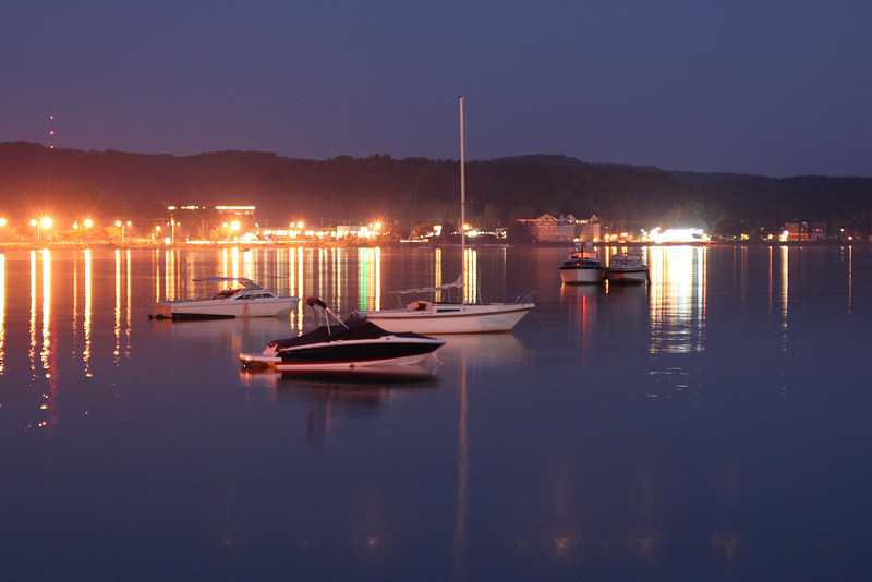 Boats at night, Traverse City, MI