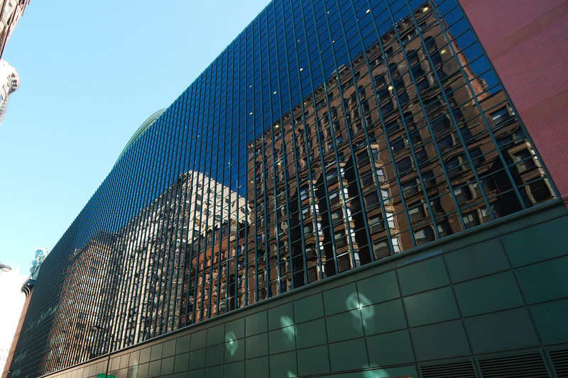 Reflection from the side of the Harold Washington Library in Chicago