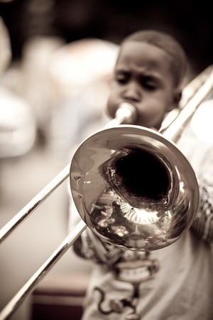 Jazz Band of Kids outside Cafe Du Monde