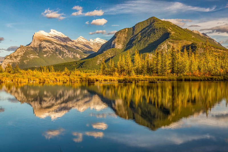 Mountain Reflections at Vermillow Lakes, Banff, Canada
