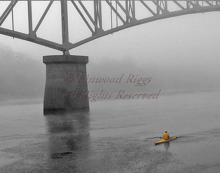 Rowing under Memorial Bridge, Augusta, Maine