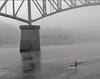Rowing under Memorial Bridge, Augusta, Maine