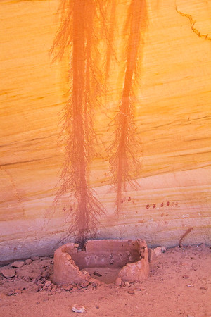 Ancestral Puebloan structure with pictographs on interior wall, Natural Bridges National Monument, San Juan County, Utah