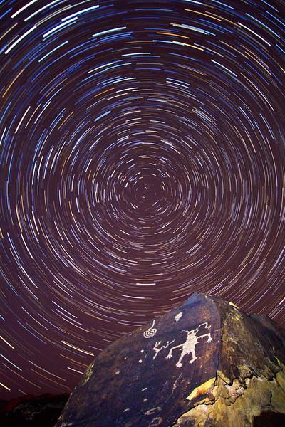 Ancestral Puebloan petroglyphs and star trails, Washington County, Utah