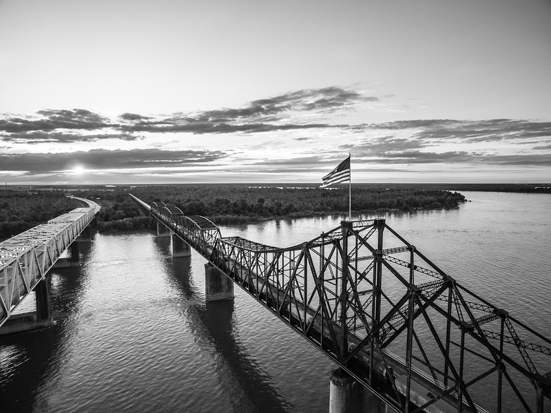 Sunset on the Mississippi River (BW)