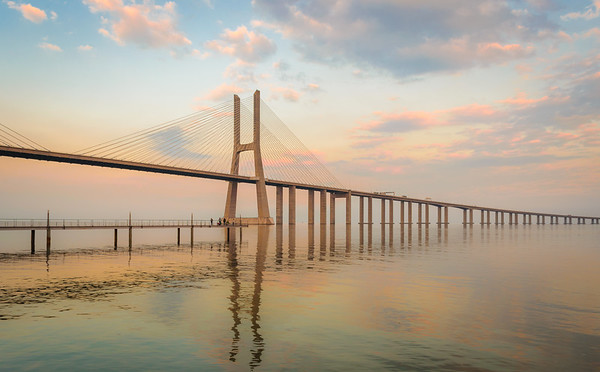 Fishing Under The Lisbon Bridge at Sunset Photography By Messagez com