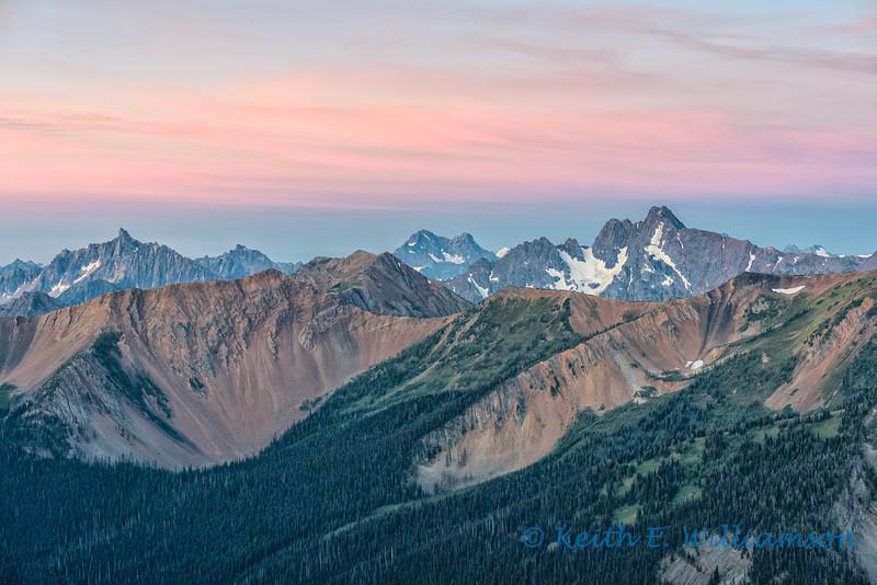 North Cascades (Golden Horn Mountain, Azurite Peak, Ballard Mountain), from Slate Peak