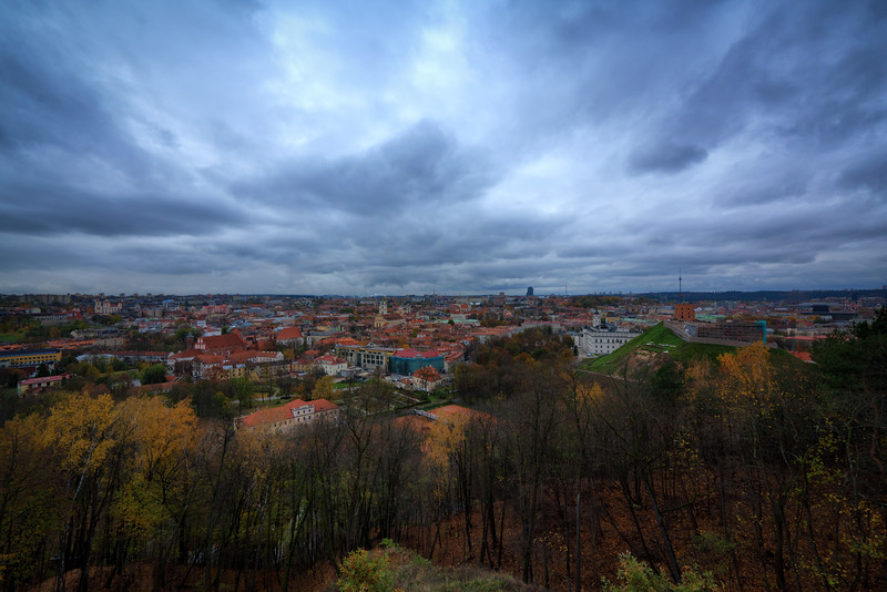 Looking over Old Town from The Hill of Three Crosses. Old Town, new construction, the Vilnius TV Tower in the distance; the history of Lithuania is on display from this one vantage point. Vilnius, Lithuania. November 2017.