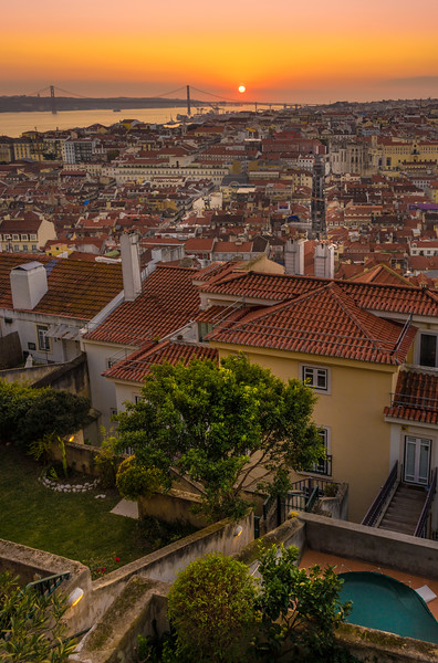 Original Lisbon Castle Landscape Viewpoint at Sunset Photography By Messagez com