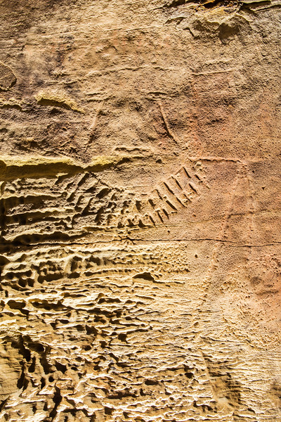 Incised human figure with tear-streaked eyes, Fremont, Nine Mile Canyon, Utah