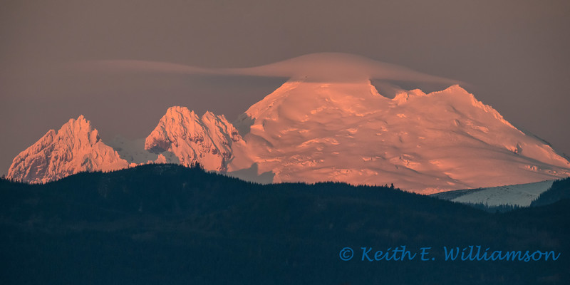 Mount Baker, with cloud cap, from Leque Island