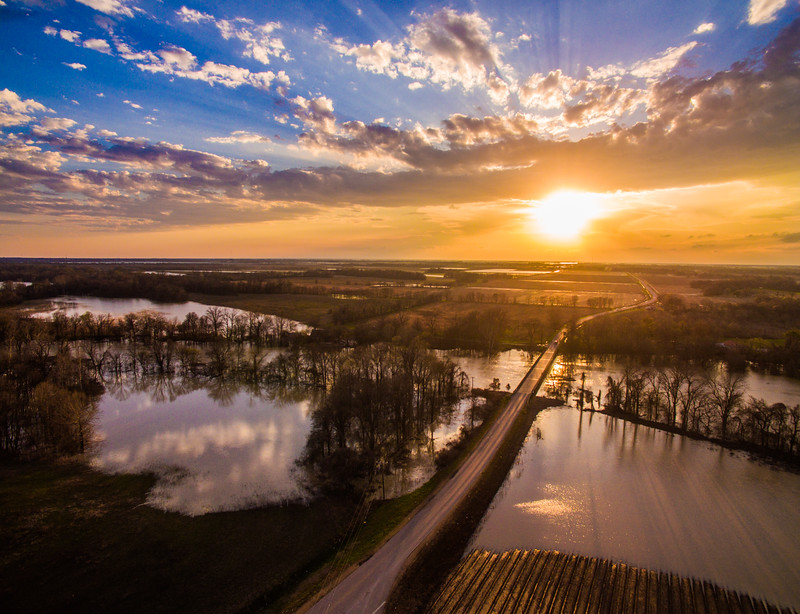 Sunset on a flooded Sunflower River
