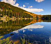 A classic autumn color view of Bear Lake at Rocky Mountain National Park.