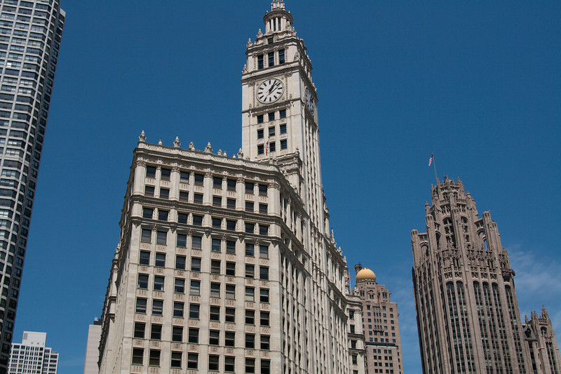 Wrigely building, with Tribune Tower at right.
