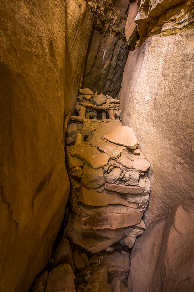 Fremont granary in crevice, Utah