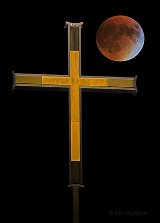 Lunar eclipse 9/27/15 over church cupola, Shoreview, Mn. #1264