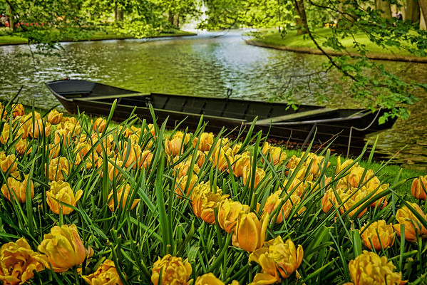 River row boat in the Keukenhof Flower Gardens near Amsterdam.