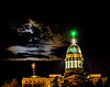 Jupiter and a crescent moon appear behind the Maine State Capitol in Augusta.