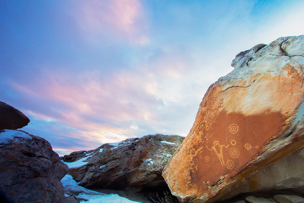 Fremont petroglyphs and sunset, Utah